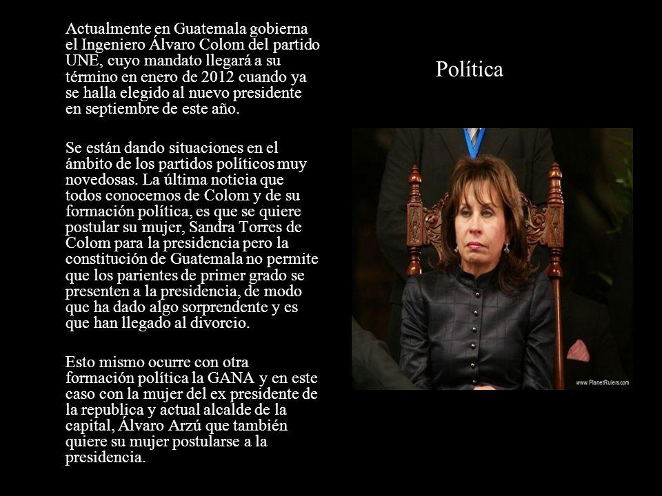 Actualmente en Guatemala gobierna el Ingeniero Álvaro Colom del partido UNE, cuyo mandato llegará a su término en enero de 2012 cuando ya se halla elegido al nuevo presidente en septiembre de este año.