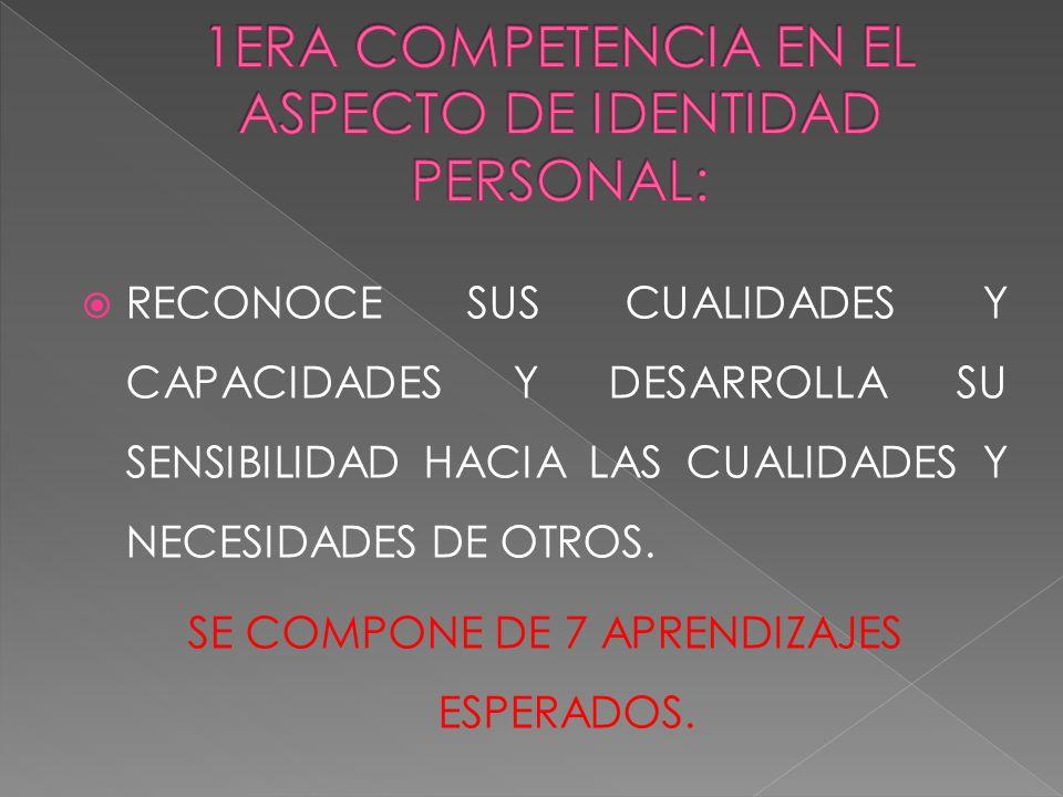1ERA COMPETENCIA EN EL ASPECTO DE IDENTIDAD PERSONAL: