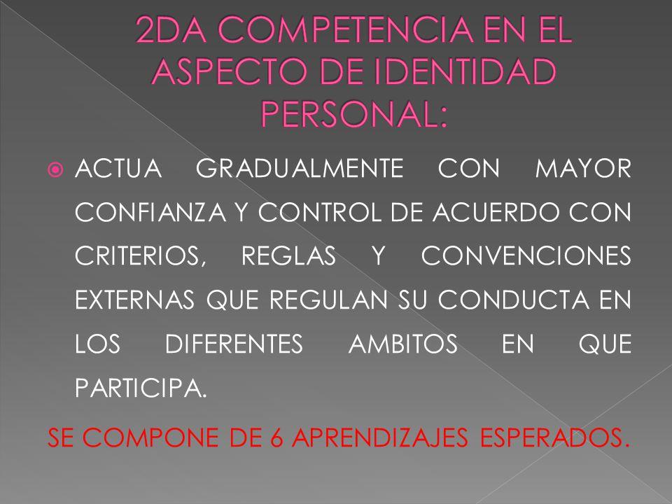 2DA COMPETENCIA EN EL ASPECTO DE IDENTIDAD PERSONAL: