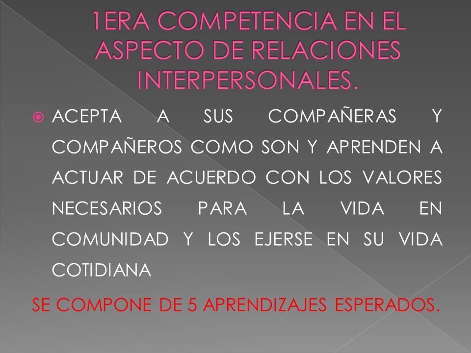 1ERA COMPETENCIA EN EL ASPECTO DE RELACIONES INTERPERSONALES.