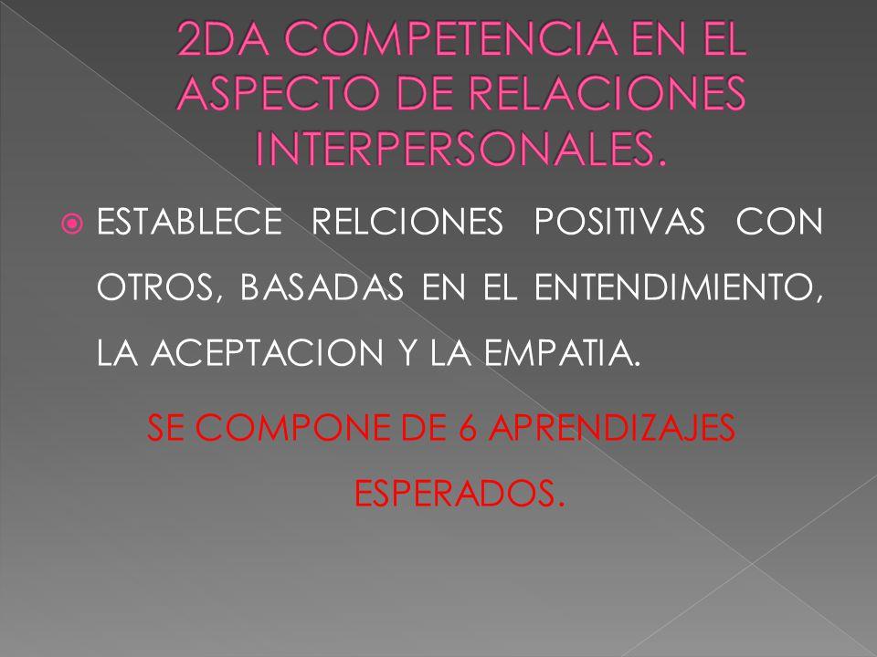 2DA COMPETENCIA EN EL ASPECTO DE RELACIONES INTERPERSONALES.