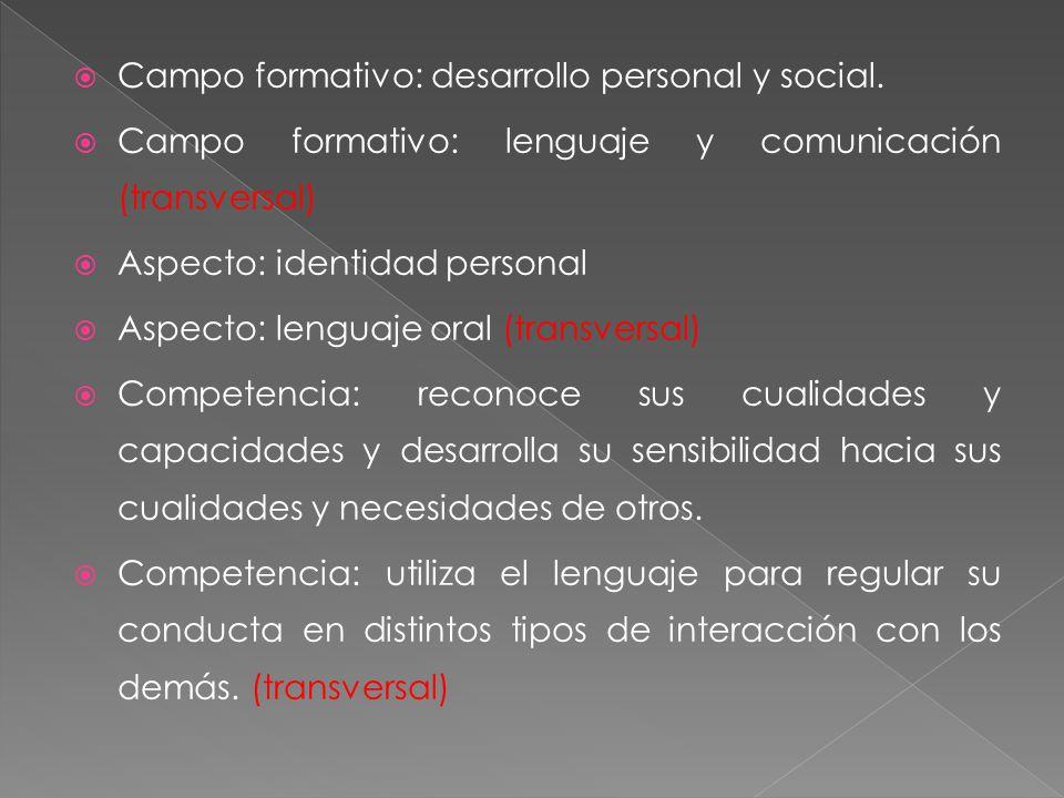 Campo formativo: desarrollo personal y social.