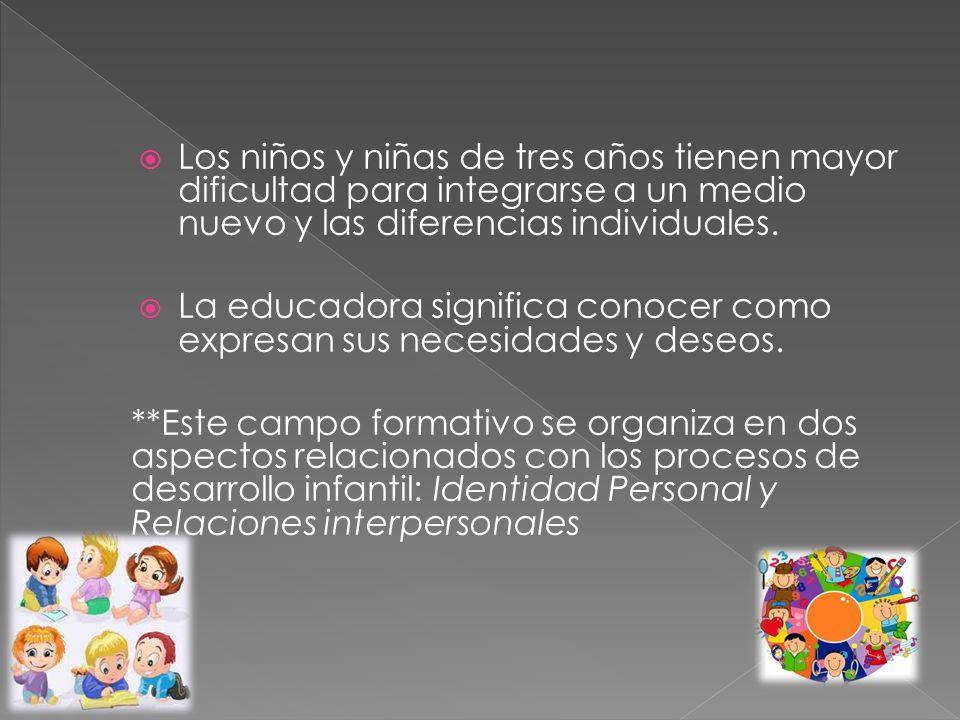 Los niños y niñas de tres años tienen mayor dificultad para integrarse a un medio nuevo y las diferencias individuales.