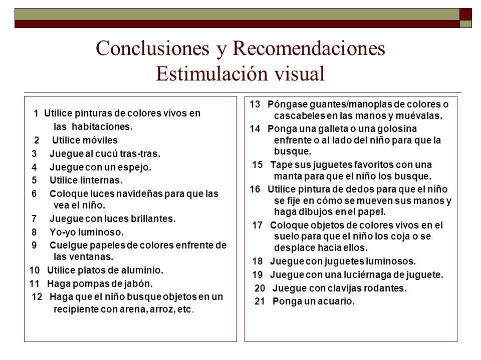 Conclusiones y Recomendaciones Estimulación visual