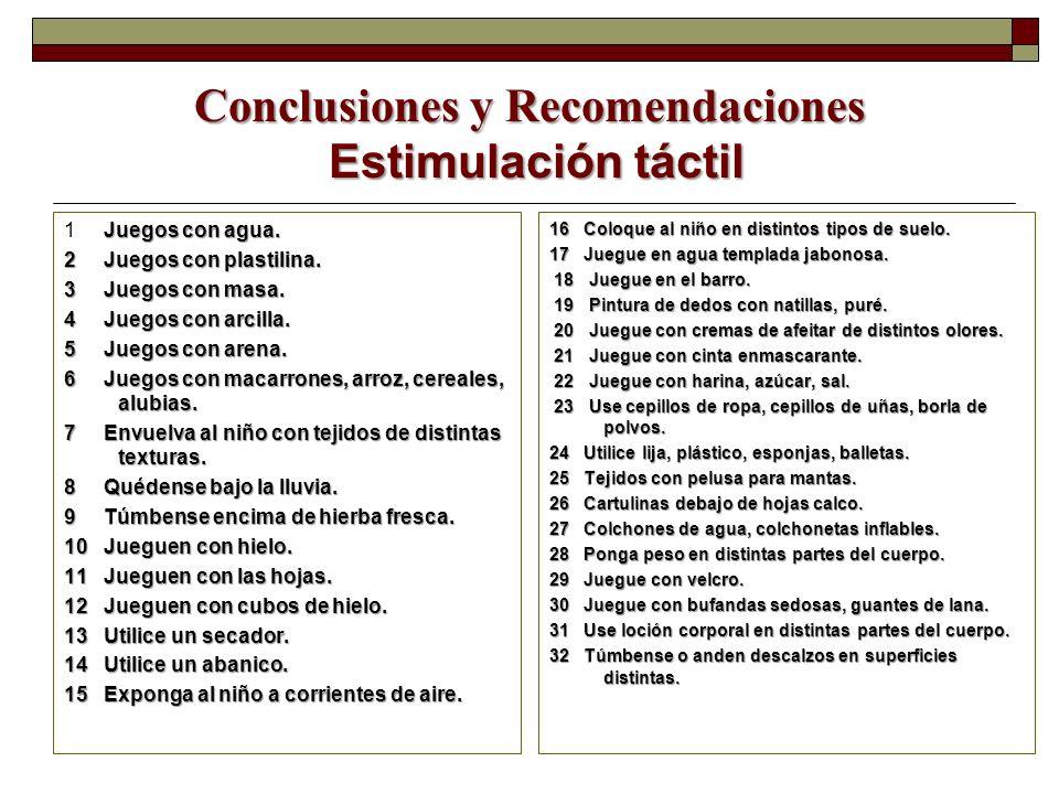Conclusiones y Recomendaciones Estimulación táctil