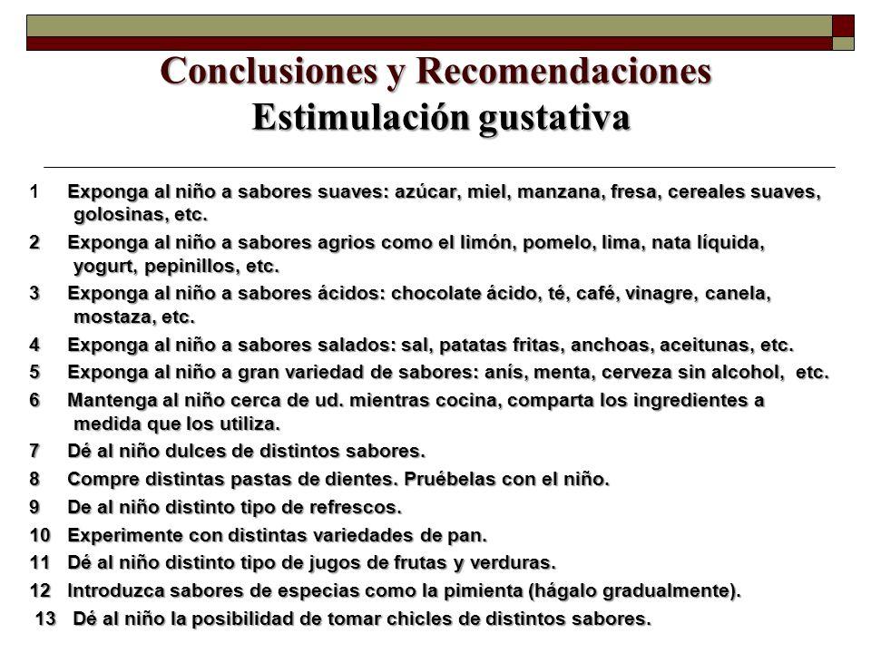 Conclusiones y Recomendaciones Estimulación gustativa