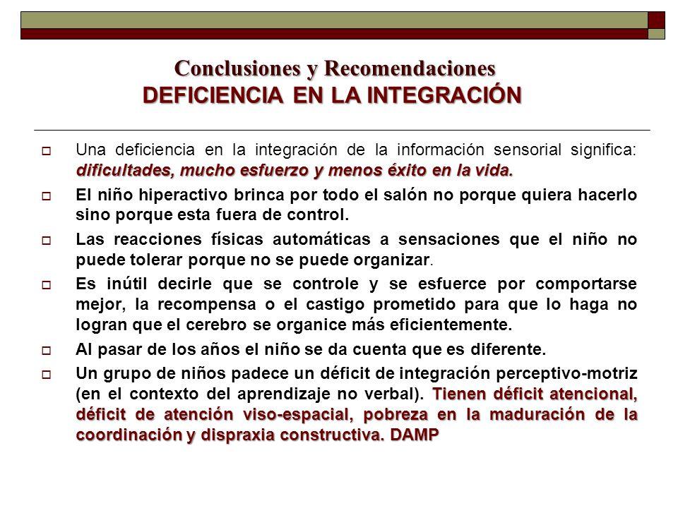 Conclusiones y Recomendaciones DEFICIENCIA EN LA INTEGRACIÓN