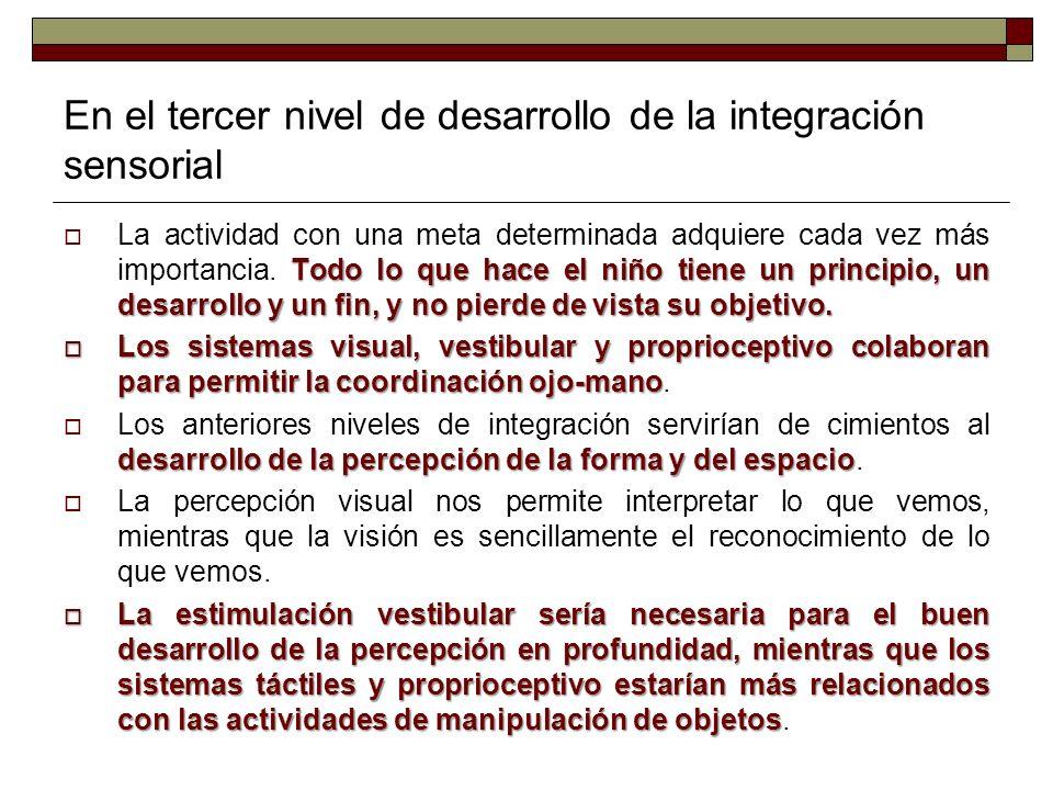 En el tercer nivel de desarrollo de la integración sensorial