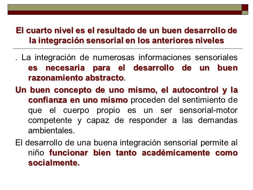 El cuarto nivel es el resultado de un buen desarrollo de la integración sensorial en los anteriores niveles