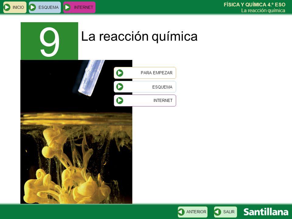 9 La reacción química ESQUEMA INICIO ESQUEMA INTERNET PARA EMPEZAR