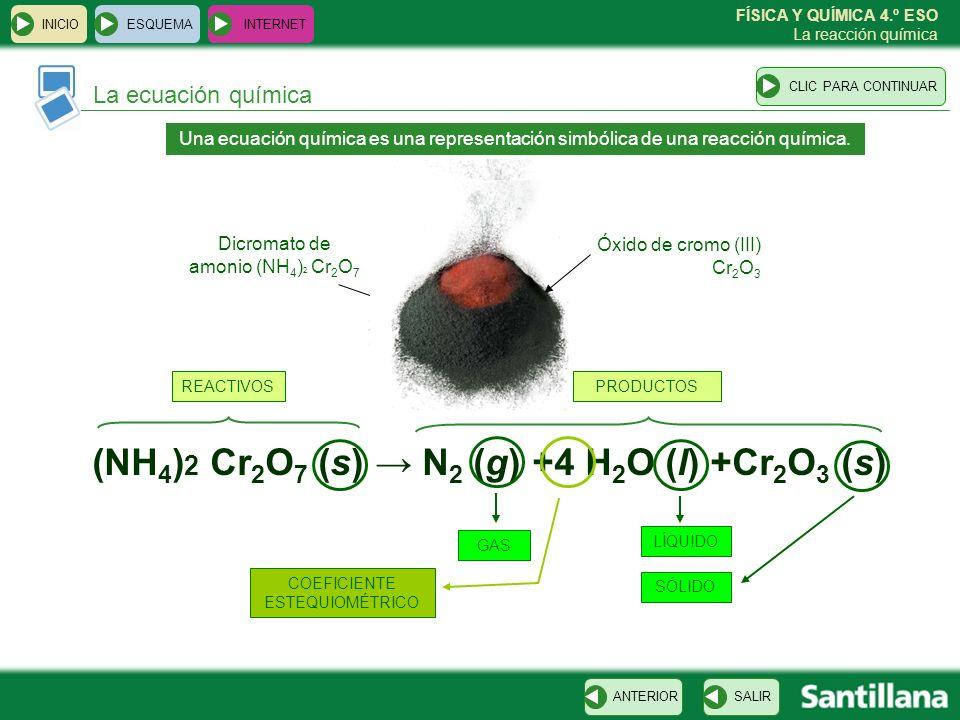 (NH4)2 Cr2O7 (s) → N2 (g) +4 H2O (l) +Cr2O3 (s)