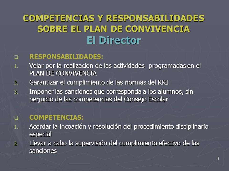 COMPETENCIAS Y RESPONSABILIDADES SOBRE EL PLAN DE CONVIVENCIA El Director