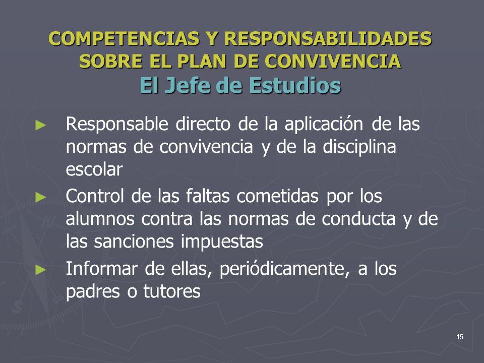 COMPETENCIAS Y RESPONSABILIDADES SOBRE EL PLAN DE CONVIVENCIA El Jefe de Estudios