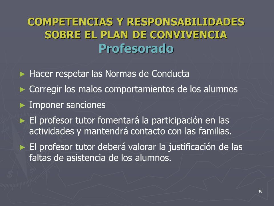 COMPETENCIAS Y RESPONSABILIDADES SOBRE EL PLAN DE CONVIVENCIA Profesorado