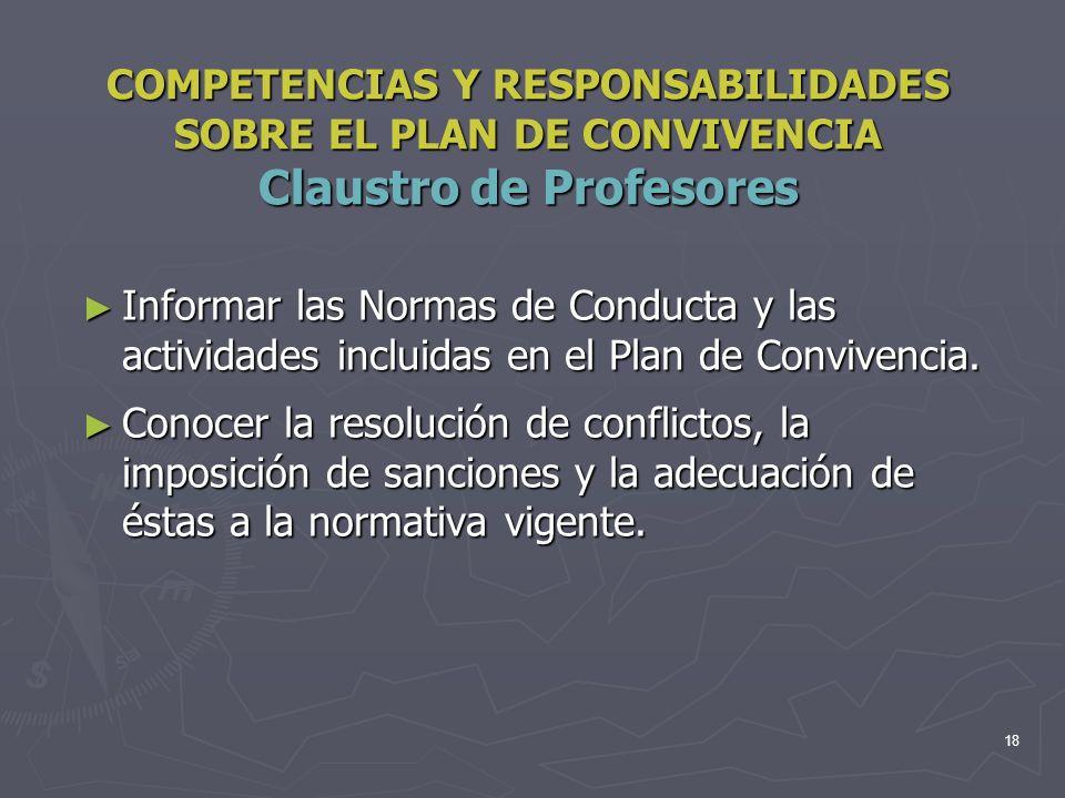 COMPETENCIAS Y RESPONSABILIDADES SOBRE EL PLAN DE CONVIVENCIA Claustro de Profesores