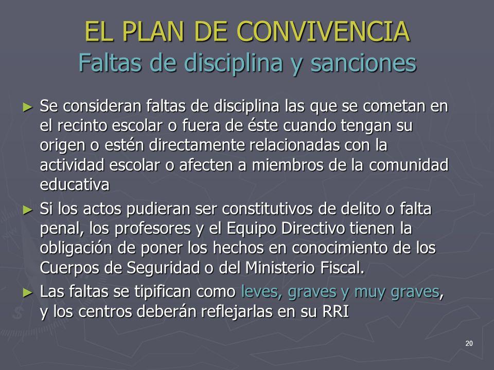 EL PLAN DE CONVIVENCIA Faltas de disciplina y sanciones