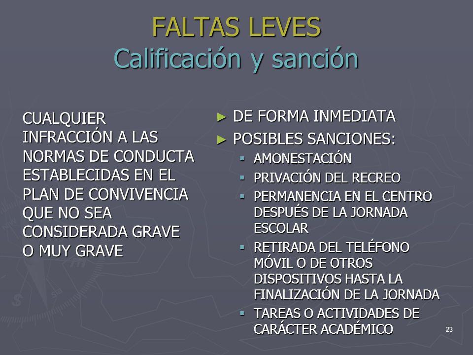 FALTAS LEVES Calificación y sanción