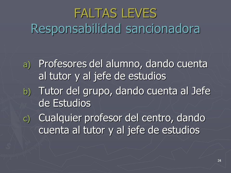 FALTAS LEVES Responsabilidad sancionadora