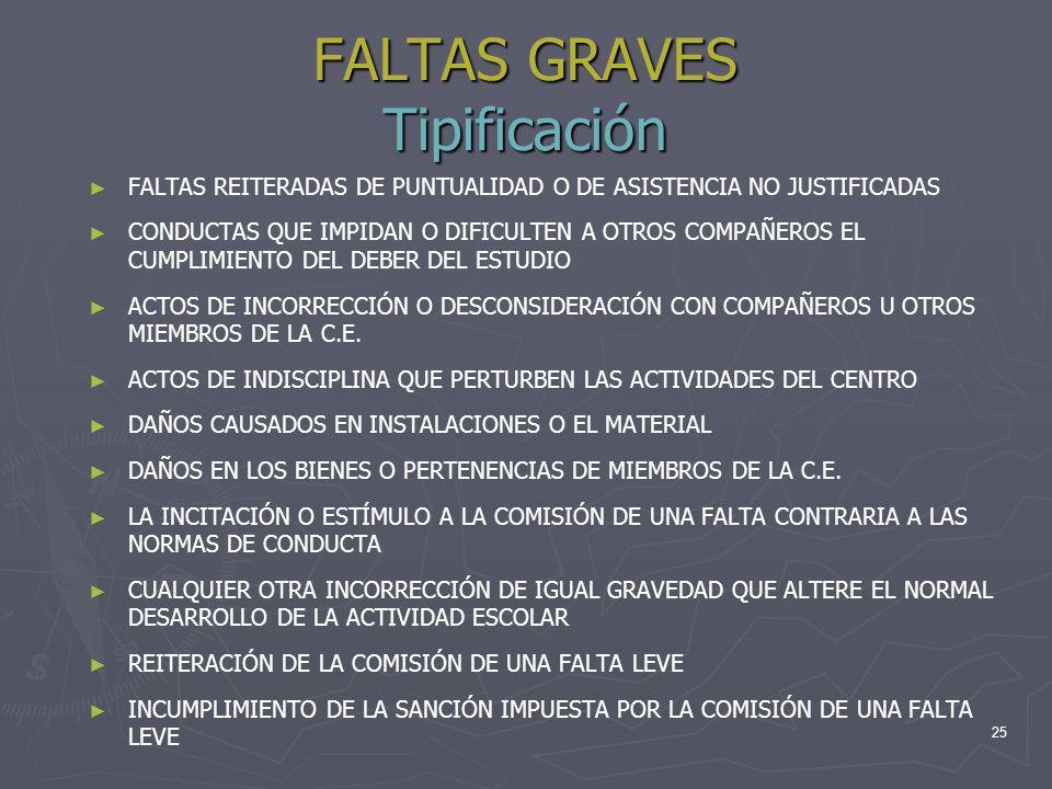 FALTAS GRAVES Tipificación