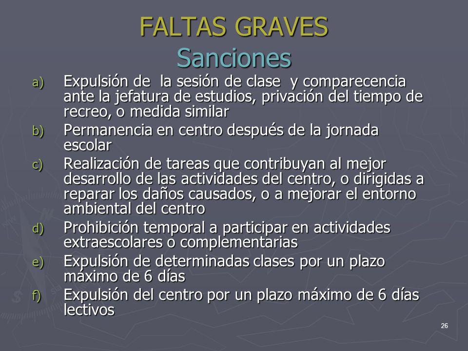 FALTAS GRAVES Sanciones
