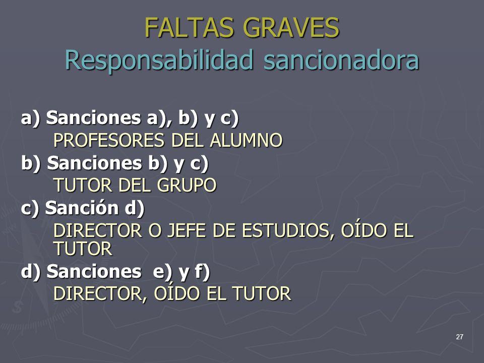 FALTAS GRAVES Responsabilidad sancionadora