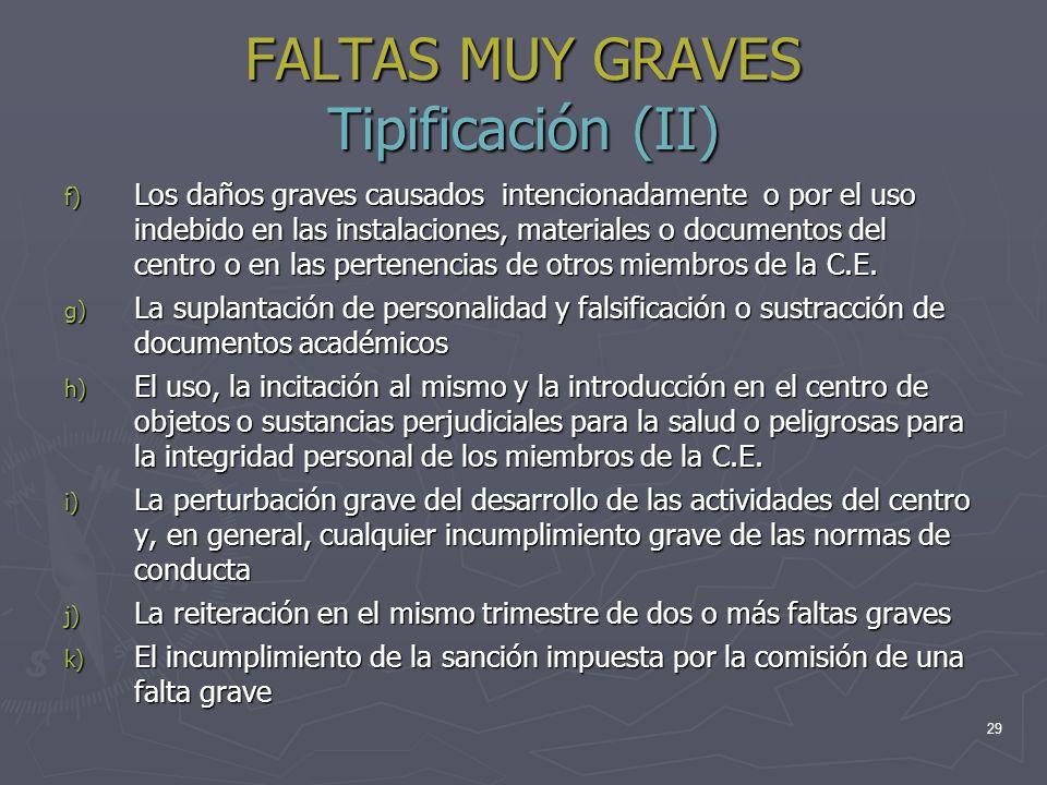 FALTAS MUY GRAVES Tipificación (II)
