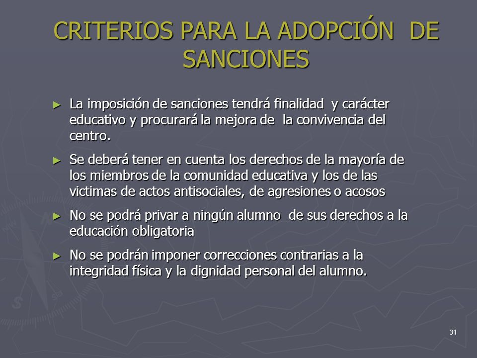 CRITERIOS PARA LA ADOPCIÓN DE SANCIONES
