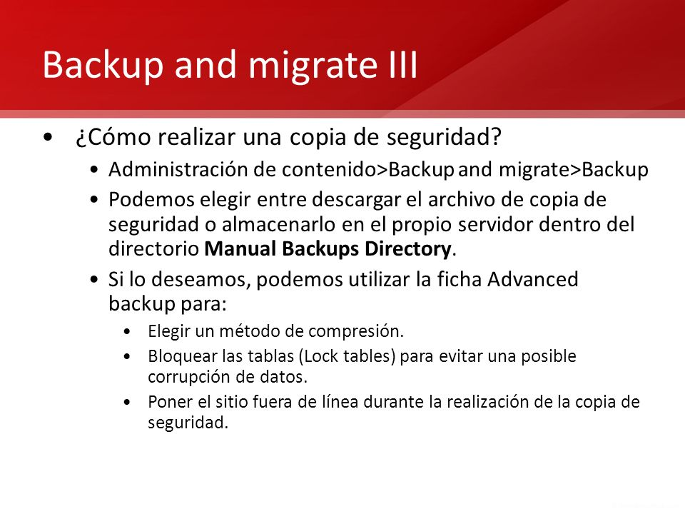 Backup and migrate III ¿Cómo realizar una copia de seguridad