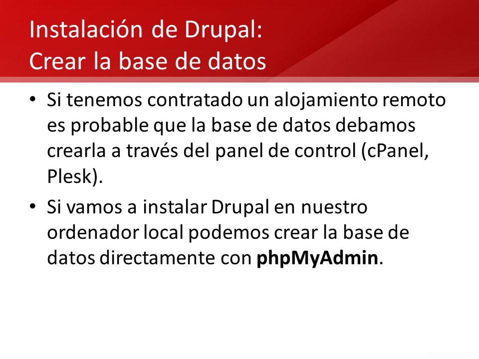 Instalación de Drupal: Crear la base de datos