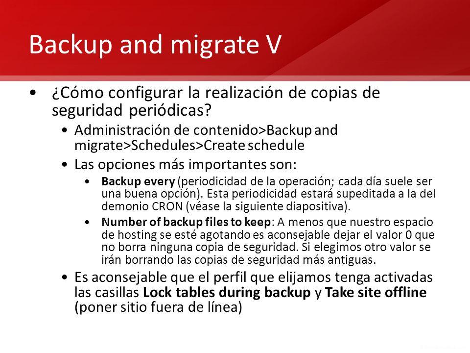 Backup and migrate V ¿Cómo configurar la realización de copias de seguridad periódicas