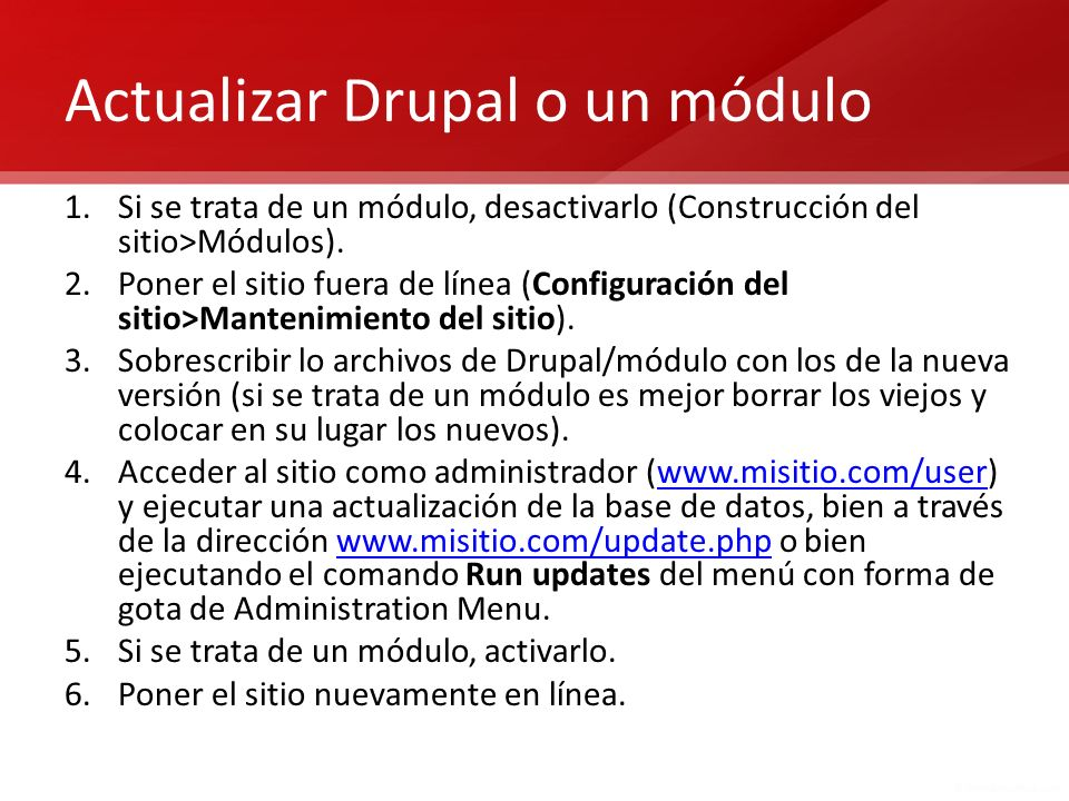 Actualizar Drupal o un módulo