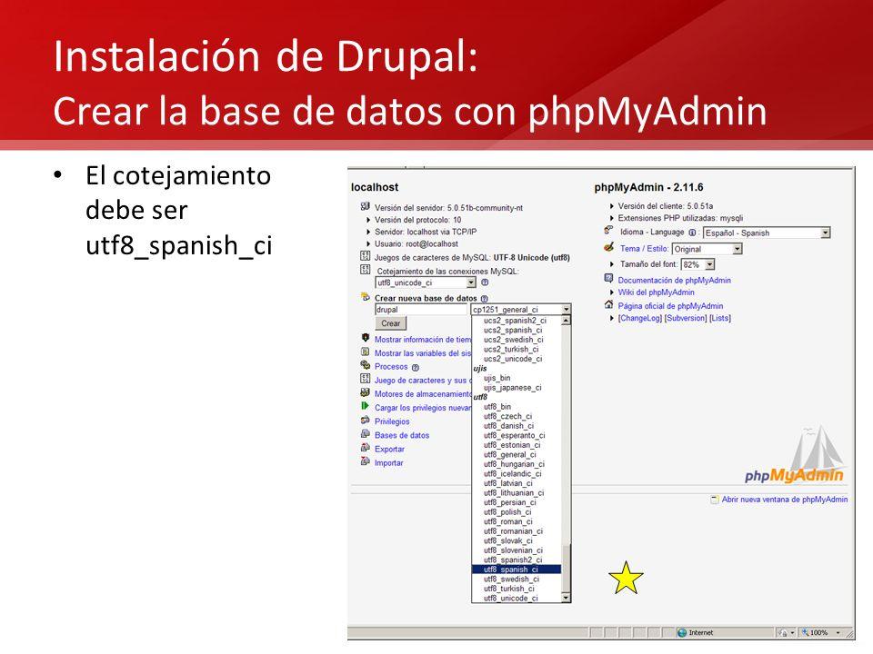Instalación de Drupal: Crear la base de datos con phpMyAdmin
