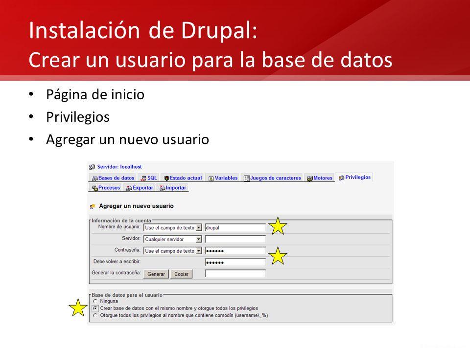 Instalación de Drupal: Crear un usuario para la base de datos