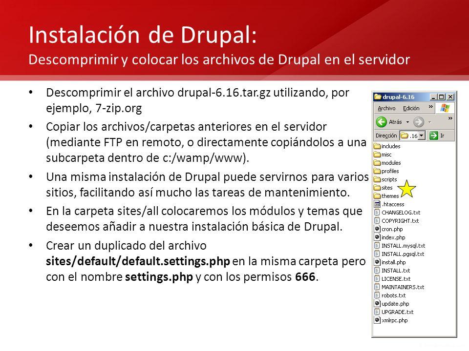Instalación de Drupal: Descomprimir y colocar los archivos de Drupal en el servidor