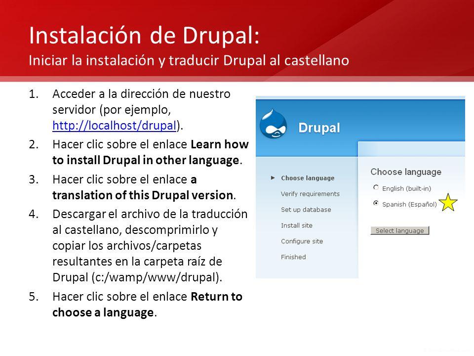Instalación de Drupal: Iniciar la instalación y traducir Drupal al castellano