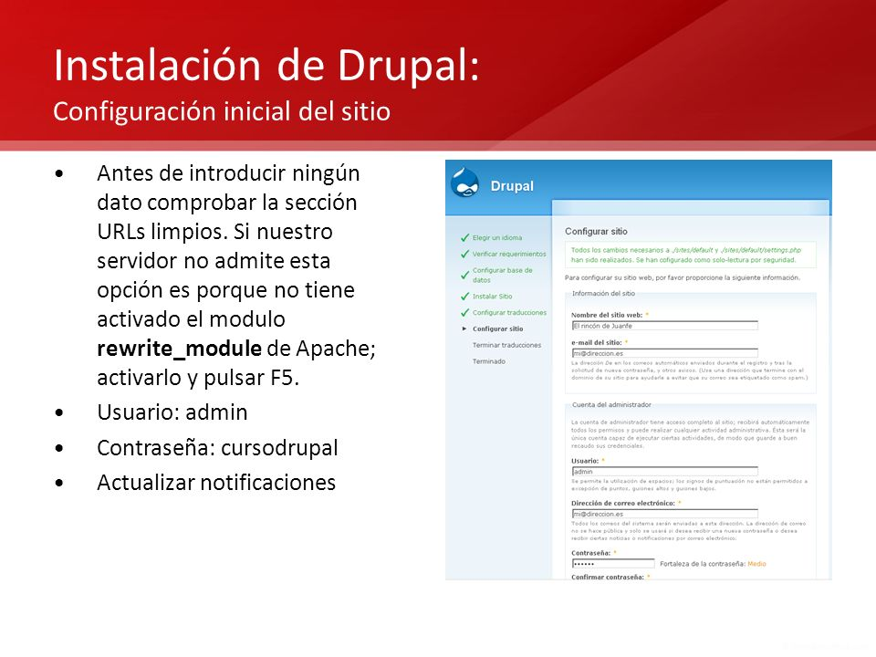 Instalación de Drupal: Configuración inicial del sitio
