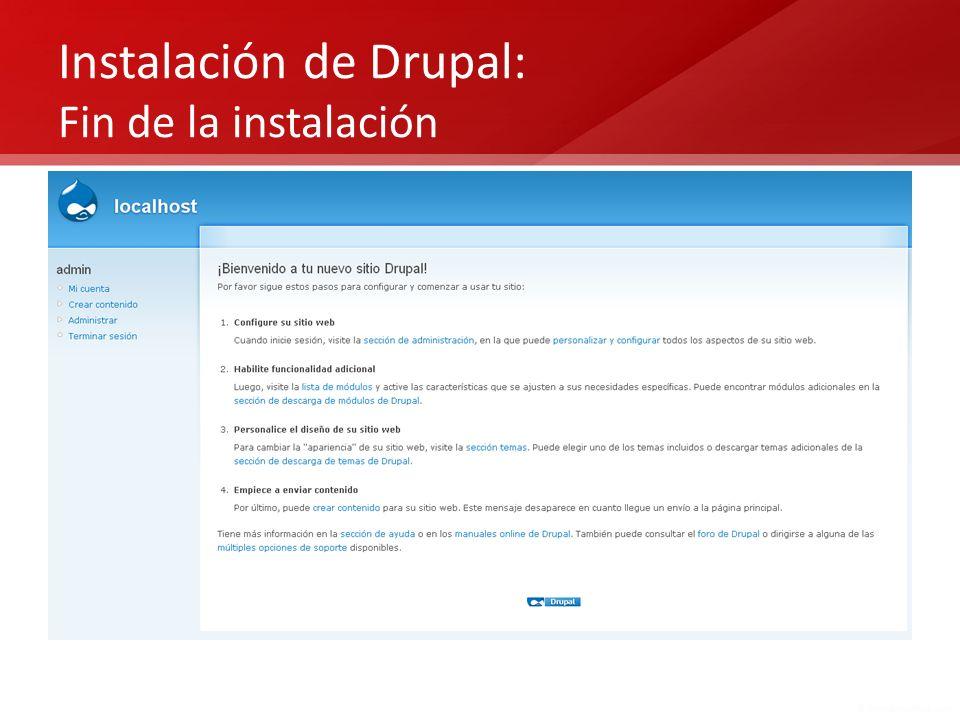 Instalación de Drupal: Fin de la instalación