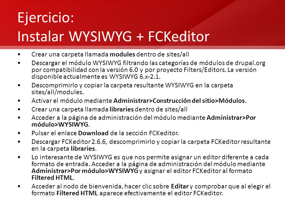 Ejercicio: Instalar WYSIWYG + FCKeditor