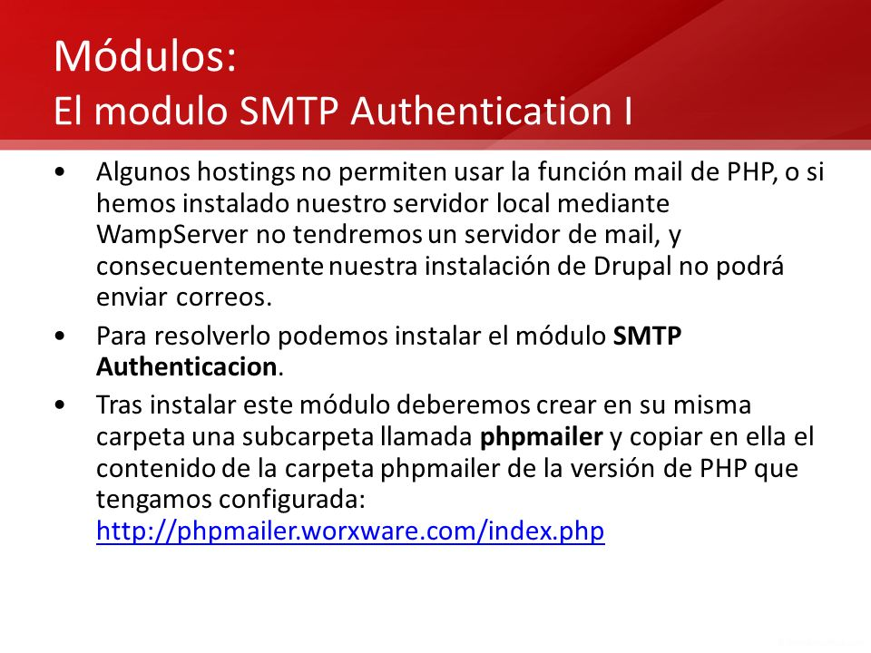 Módulos: El modulo SMTP Authentication I