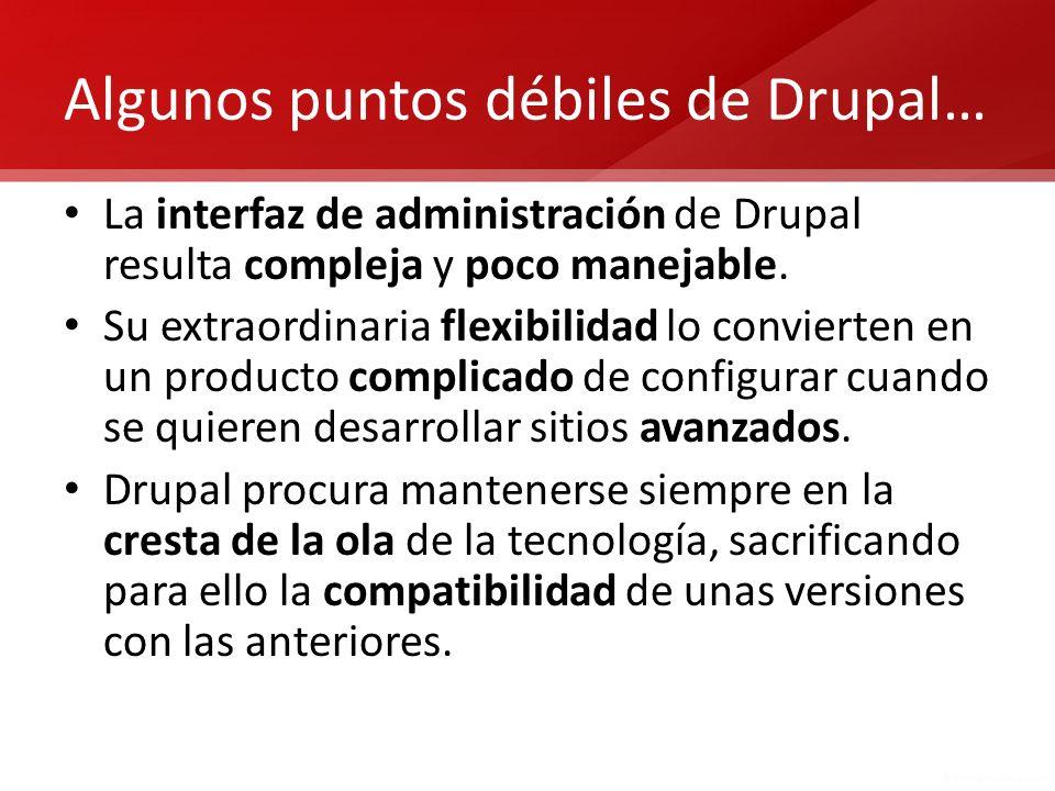 Algunos puntos débiles de Drupal…