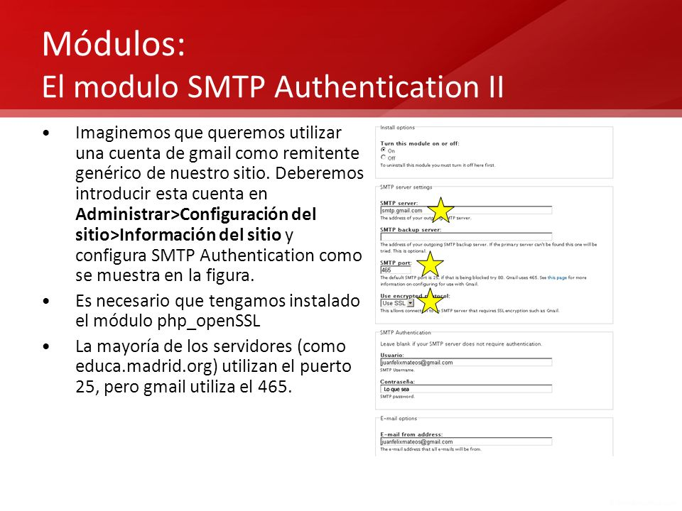 Módulos: El modulo SMTP Authentication II
