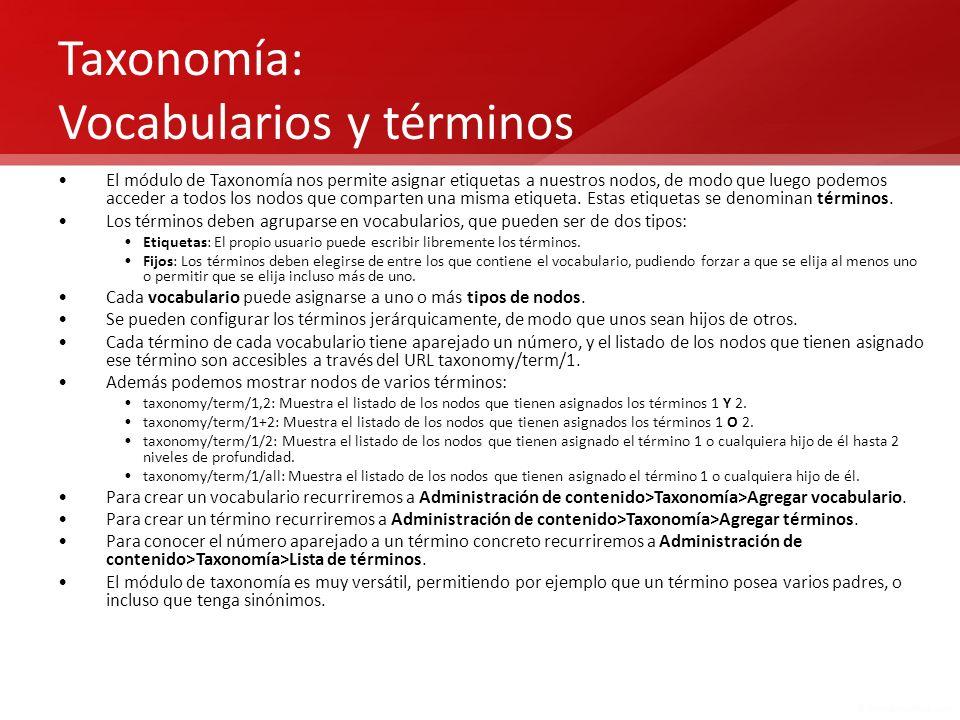 Taxonomía: Vocabularios y términos
