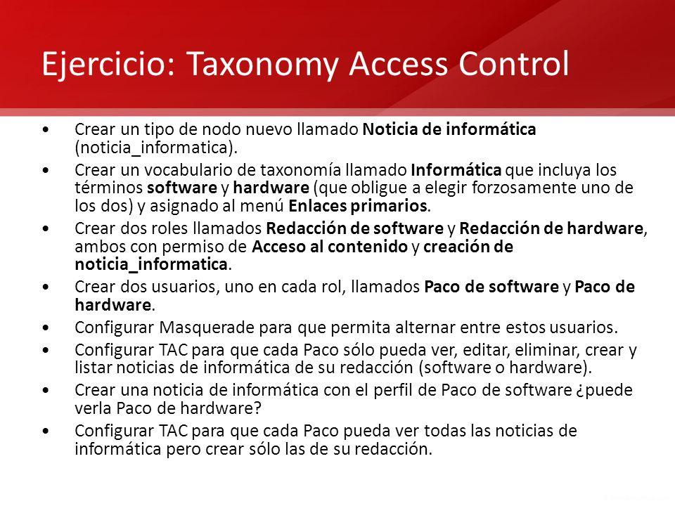 Ejercicio: Taxonomy Access Control