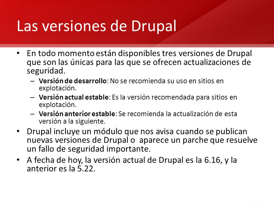Las versiones de Drupal