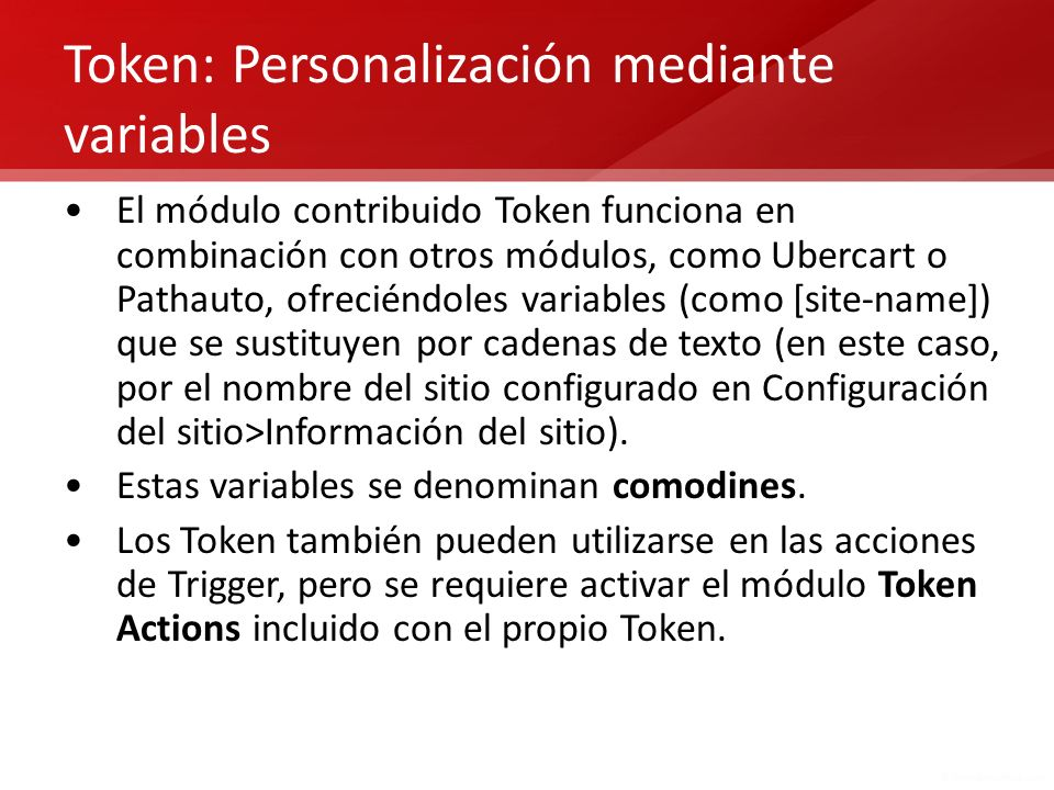 Token: Personalización mediante variables