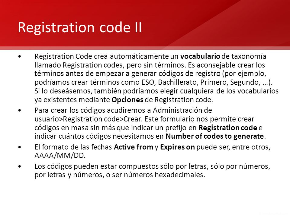 Registration code II