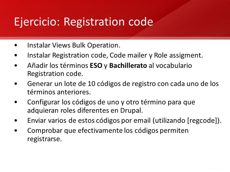 Ejercicio: Registration code