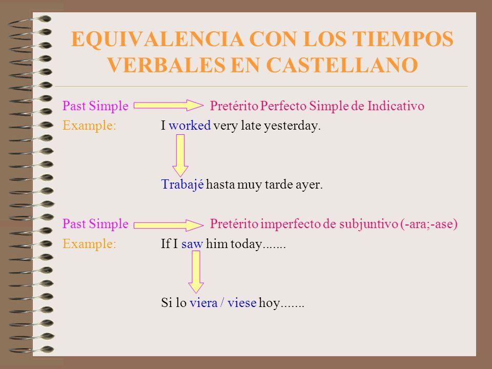 EQUIVALENCIA CON LOS TIEMPOS VERBALES EN CASTELLANO