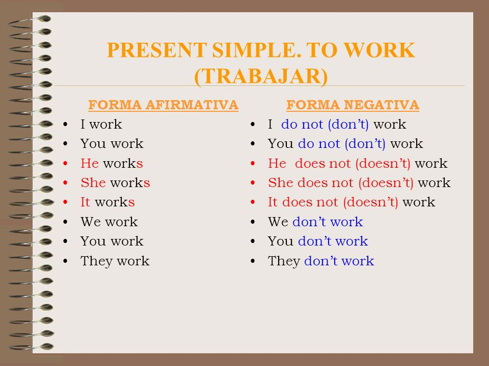 PRESENT SIMPLE. TO WORK (TRABAJAR)