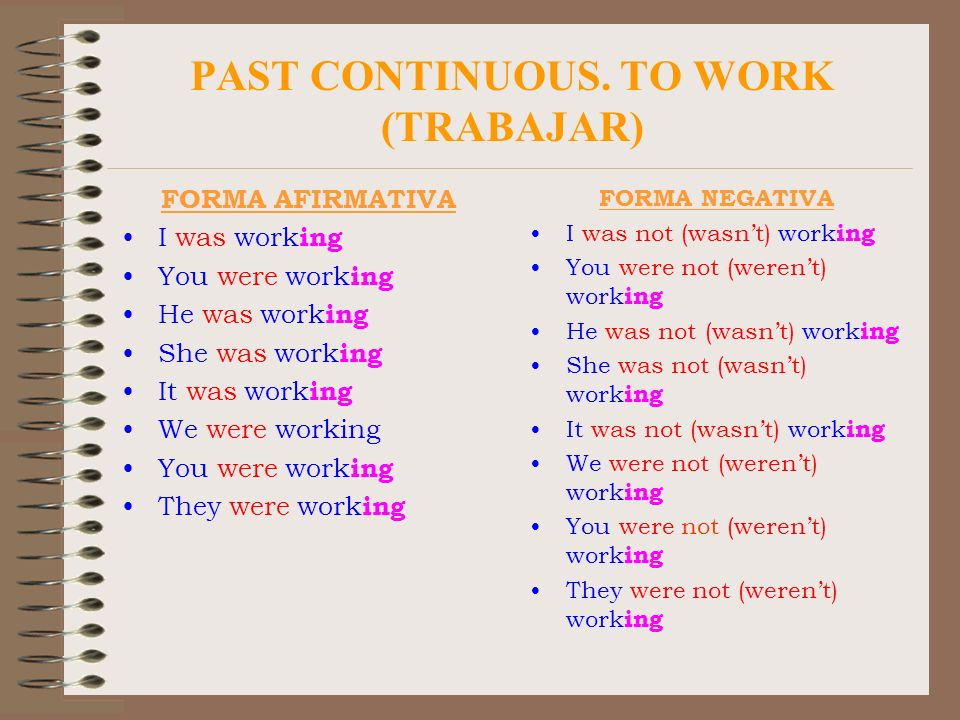 PAST CONTINUOUS. TO WORK (TRABAJAR)